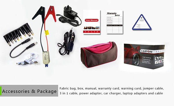 accessories and package for emergency jump starter