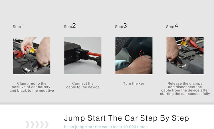 step by step to teach you how to start car engine by emergency jump starter