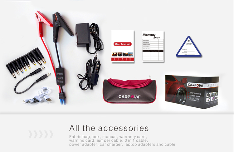 accessories and package for D50 emergency jump starter