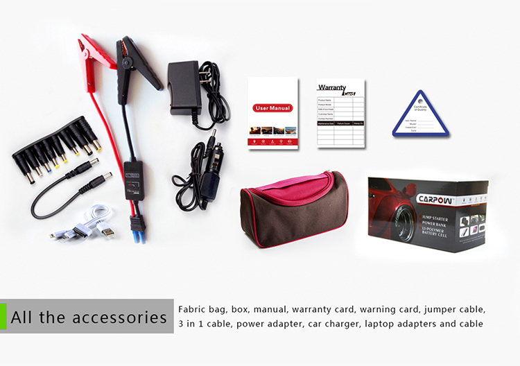 package and accessories for multi function jump starter